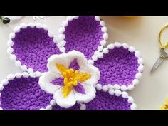 This Pin was discovered by Nev Freeform Crochet, Crochet Doilies, Crochet Flowers, Cute Crochet, Crochet Hats, Flower Granny Square, Crochet Flower Tutorial, Crochet Videos, Beautiful Flowers