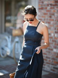 The effortless dress that takes you from day to date night | Banana Republic Navy Tweed Dress
