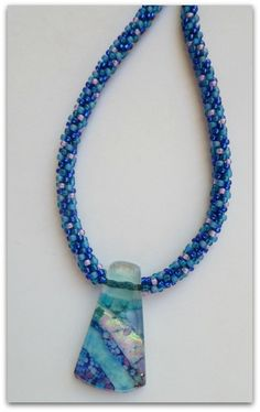 Kumihimo Beaded Necklace with Fused Glass Pendant Kit available at www.whatabraid.com