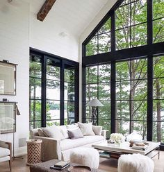 Living room design: white shiplap, black windows, aged wooden ceiling beams, transitional and fresh decor (house architecture rustic) Living Room White, Living Room Windows, Living Room Decor, Living Rooms, Small Living, Modern Living, Kitchen Windows, Luxury Living, White Shiplap