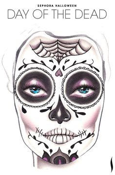 Create the perfect sugar skull look with this easy how-to template for Dia de…