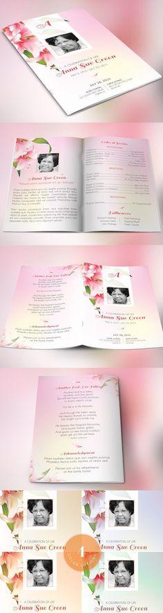 Petals Funeral Program Photoshop. Watercolor Flowers