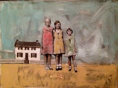 """Three Sisters"" vintage children girls  mixed media portrait painting by Canadain mixed media artist Heather Murray"