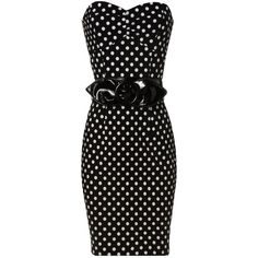Polka Dot Shift Dress found on Polyvore  With some yellow pumps!