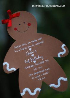 Christmas Birthday Gingerbread Boy or Girl Invitation by Palm Beach Polkadots