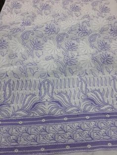 Exclusive Lucknow Chikan Purple on White Cotton Suit Length with fine jaal chikankari murri, shadow, Aari, jaali work with designer crochet daaman, contrast shalwar & pure chiffon dupatta #chikankari $74.5