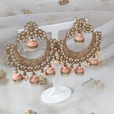 Jhumki Earrings, Indian Earrings, Dangle Earrings, Pearl Necklace, Silver Paint, Stone Painting, Statement Earrings, Desi, Dangles