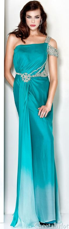 JOVANI - Authentic Designer Dress - Long Jewel Gown Turquoise/Ombre