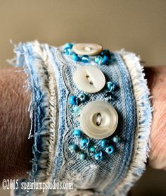 Handmade Forever in Blue Jeans Wrist Cuff with by sugarlumpstudios
