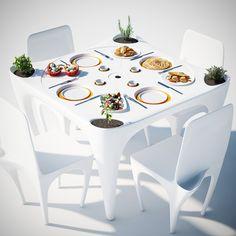 Dois italianos arrumaram uma solução para evitar que os objetos saiam voando da mesa em uma refeição ao ar livre: criaram o conjunto de mesa e cadeiras Bye Bye Wind, com aberturas para encaixargardanapos, garrafas, pratos de plástico e até celular.