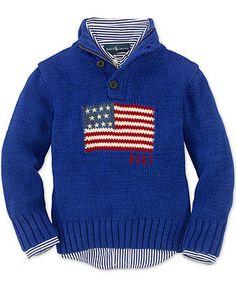 Ralph Lauren Kids Sweater, Little Boys Buttoned Mock Neck American Flag Sweater