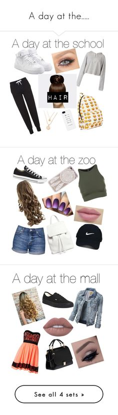 """A day at the....."" by mariposa68 ❤ liked on Polyvore featuring Topshop, NIKE, Faith Connexion, Mansur Gavriel, Onzie, Converse, Nike Golf, Sisters Point, Vans and Lime Crime"