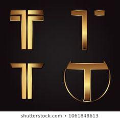 Gold Letter T Logo. Monogram Logo, Monogram Letters, Tt Logo, Writer Logo, Corporate Logo Design, Soccer Logo, Boutique Logo, Letter T, Logo Maker