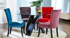 Del Mar Ebony 5 Pc Round Dining Set with Gunmetal Chairs
