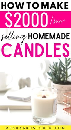 An easy and fun side hustle you can do from home! Selling homemade candles from home online. Make extra money by crafting and selling DIY candles! Earn passive income by selling what you have made already. Make Money Fast Online, Online Jobs From Home, Make Money From Home, Way To Make Money, How To Make, Work From Home Options, Work From Home Moms, Homemade Candles, Diy Candles