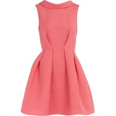 Coral v-back collar dress ($35) ❤ liked on Polyvore featuring dresses, vestidos, pink, vestiti, red dress, pink sleeveless dress, sleeveless cocktail dress, sleeveless collared dress and collar dress