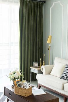 Pair of Olive Green Velvet Curtains, Bedroom Velvet Curtains, Living Room Silk Velvet Curtains, Custom Curtains - vagia - Velvet Curtains Bedroom, Living Room Decor Curtains, Hanging Curtains, Olive Green Curtains, White Curtains, Custom Made Curtains, Stoff Design, How To Make Curtains, Living Room Green