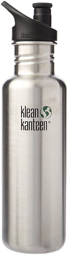 Klean Kanteen Classic Stainless Steel Bottle with Sport Cap, Brushed 27oz