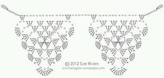 I got it in my head to make some crochet bunting. I tried quite a few different crochet triangles, there is a nice assortment of them on the interwebs. Crochet Triangle, Granny Square Crochet Pattern, Crochet Diagram, Crochet Chart, Crochet Granny, Crochet Motif, Crochet Designs, Crochet Stitches, Knit Crochet