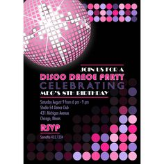 disco invitation cards - Google Search