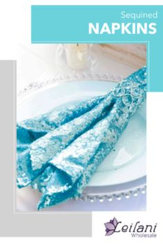 Sequined table napkins will add that extra finishing touch to your wedding reception or lunch tables. Compliment your party tabletops! #tablesetting #napkins Lunch Table, Dining Decor, Event Decor, Serenity, Compliments, Party Supplies, Wedding Reception, Napkins, Wedding Decorations