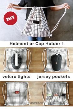If you like to ride bikes, you'll love this DIY :)  Come to think of it, it's also a cool shopping backpack. It has a clip where you can clip on your helmet or cap or keys thus freeing …