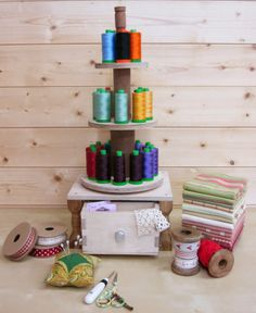 """So loving this creative Aurifil display made for Sandra from Sandy Quilts by her eldest son.  """"As Kevin knew that #Aurifil thread was my favourite and that I use it for piecing and quilting, he designed the carousel to fit the size of the Aurifil spools. I love to see the different colours of the threads and the spools are easy to lift off and on.""""  To see more please visit http://sandy-quilts.blogspot.com/2014/05/my-eldest-son-kevin-is-just-about-to.html"""