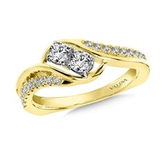Two-Stone Diamond Engagement Ring Mounting in 14K Yellow Gold (.46 ct. tw.)
