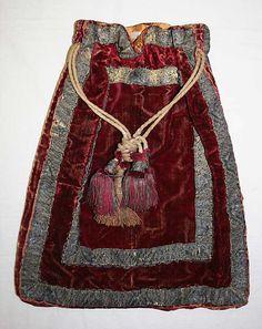 Early 18th century, France - Drawstring bag - Silk, metallic thread