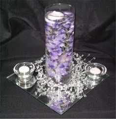 centerpiece with blue flowers.....?