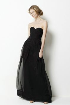 simple cheap black bridesmaid dress with sweetheart neckline
