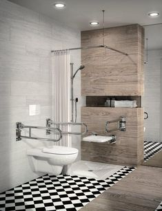 Accessible bathroom plan-tile-shower-tile-wood-look-wall-mirror … - bathroom decoration Ada Bathroom, Handicap Bathroom, Bathroom Plans, Bathroom Interior, Modern Bathroom, Small Bathroom, Washroom, Behindertengerechtes Bad, Disabled Bathroom