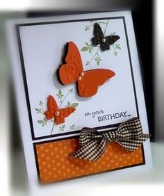 Nice - You don't usually see butterfly cards in this color scheme!