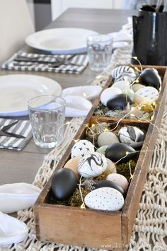 Black and White Easter Table Easter Decor Home Decor Rustic Farmhouse Farm H. - Black and White Easter Table Easter Decor Home Decor Rustic Farmhouse Farm House Country H Bl - Diys Room Decor, Dining Room Wall Decor, Dining Room Table, Decor Ideas, Decorating Ideas, Oster Dekor, Easter Crafts, Easter Ideas, Spring Home Decor