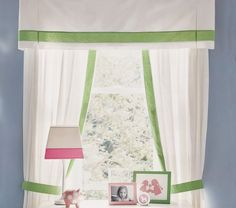Pottery Barn Kids Pair of Marissa Linen Border Panels Curtains Green Window Treatment 50 x 96