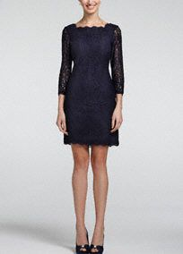 Perfect for any event especially the Mother of the Bride, you will look sensational in this all over lace dress!  This short all over lace dress has a natural bodice and features an ultra-feminine scalloped neckline and back.  Ideal staple dress for your collection, just pair with a vibrant heel and chunky jewelry to finish your look.  Fully lined. Exposed back zip. Imported polyester. Dry clean only. Also available in Plus sizes as Style 041864781.