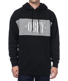 Represent one of the sickest brands that delivers strong messages in the New Times black and grey hoodie from Obey. The black hoodie has a grey block on the chest with an embroidered Obey text graphic across in a New Times font. Grab this hoodie and pair