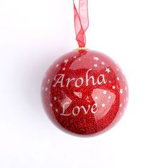 """Aroha is the Maori word for """"love"""", and is one of the most well known Maori words. This Sparkly Aroha Love Christmas Ball Ornament is sure to become an heirloom. Maori Words, Christmas Balls, Christmas Ornaments, Kiwi Bird, Ball Ornaments, Holiday Decor, Christmas Baubles, Christmas Jewelry, Christmas Decorations"""