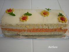 las recetas de barbara: PASTEL DE PAN DE MOLDE CON RELLENOS DE COLORES Sandwich Cake, Best Sandwich, Sandwiches, Gula, Pound Cake, Vanilla Cake, Main Dishes, Buffet, Appetizers