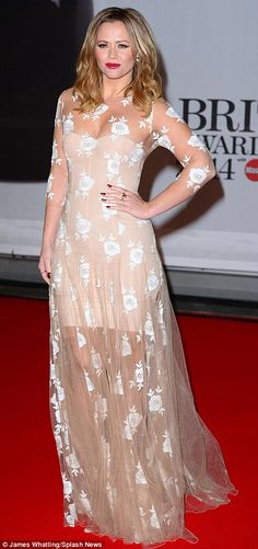Coloured: Pop star Kimberley Walsh looked feminine in a nude, floral number, while Caroline Flack wore a blue playsuit Stunning Dresses, Nice Dresses, Formal Dresses, Kimberley Walsh, Girls Aloud, Blush Pink Dresses, Red Carpet Looks, Red Carpet Fashion