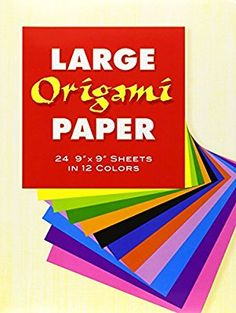"""Large Origami Paper : 24 9"""" X 9"""" Sheets in 12 Colors"""