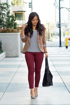 Adding Life and Color to Business Casual Work Wear - Putting Me Together - maroon jeans + tan blazer + striped tee + leopard print pumps - Tan Blazer Outfits, Maroon Pants Outfit, Maroon Jeans, Camel Blazer, Red Pants, Burgundy Pants, Business Casual Outfits For Women, Business Casual Dresses, Business Attire