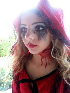 Halloween makeup and costume little dead riding hood - #ridinghood #goth #dead…