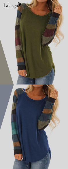 ab872013d40530 Women Casual Shirts Multi-color Striped Long Sleeve Tops Blouses Casual  Shirts
