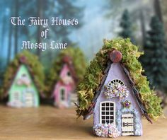 The Fairy Houses of Mossy Lane - Handcrafted Chalet Style Cottage in Mint Green w/ Mossy Roof, Flower Boxes and Wooden Door Indoor Fairy Gardens, Fairy Garden Houses, Fairies Garden, White Wooden Doors, Stone Archway, Clay Houses, Mini Houses, Tree Saw, Miniature Crafts