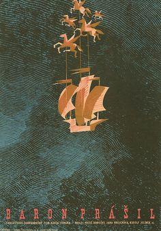 Karel Zeman: The Fabulous Baron Munchausen - TRAILER of the digitally restored film Poster Ads, Film Posters, Kunst Poster, Fantasy Films, Exhibition Poster, Retro Illustration, Typography Prints, Artwork Prints, Cover Art