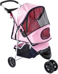 Pink Pampered Pet Stroller & Jogger for Small Dogs and Cats - http://www.thepuppy.org/pink-pampered-pet-stroller-jogger-for-small-dogs-and-cats/