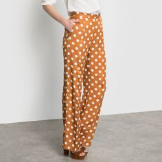 "Pantalon large à pois ""Nice Things"" couleur ""terre"" 
