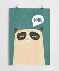 Art print grumpy cat illustration grumpy poster by agrapedesign