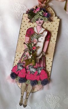 Spring Easter Bunny Paper Doll Tag Articulated Mixed by ParisPluie, $15.50
